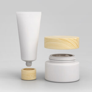 INDORIVER | Customized Cosmetics Tube & Cream Jar with a Wood Lid