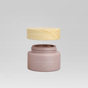 Cosmetics Tube & Cream Jar with Wood Lid
